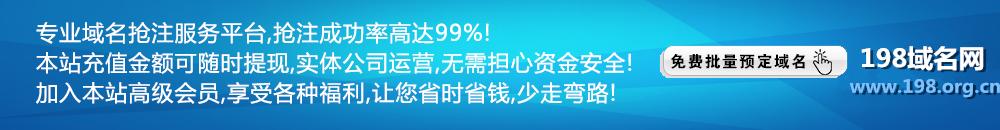 198域名网-域名抢注成功率  99%