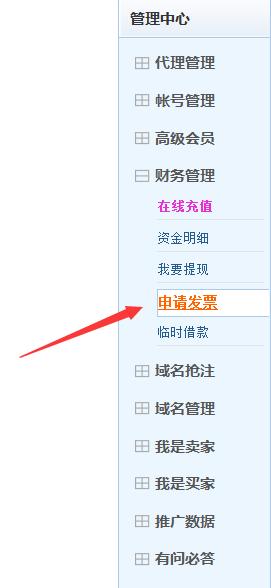 聚名网:申请发票流程
